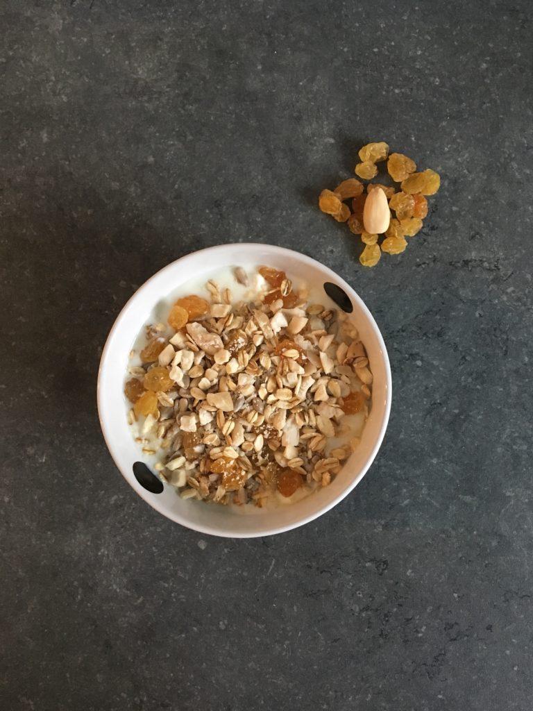 Compote de pomme, yaourt à la noix de coco, raisins secs blonds, amandes, graines de tournesol et flocons d'avoine grillés.
