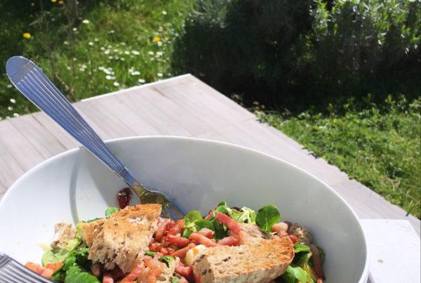 Salade verte, croutons, lardons, pomme, cranberries, fenouil.